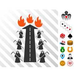 Road to hell fire icon with bonus vector
