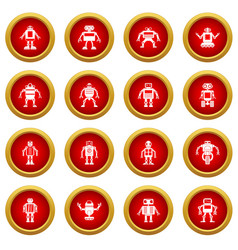 Robot icon red circle set vector