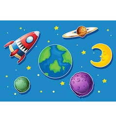 Rocket and many planets in space vector