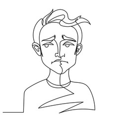 sad man portrait one line male facial expression vector image