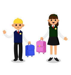schoolboy and schoolgirl in school uniform vector image