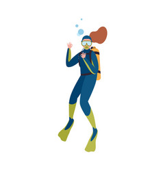 Scuba diver in wetsuit show ok gesture isolated on vector