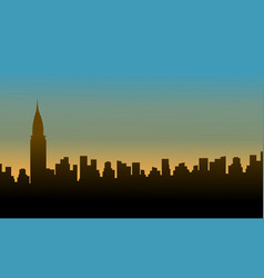 Silhouette chrysler building at sunset scenery vector