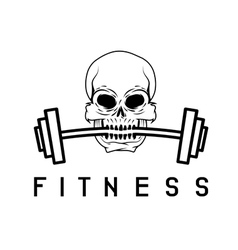 skull holding barbell in the teeth fitness concept vector image