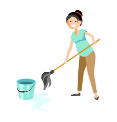 smiling woman washing floor vector image