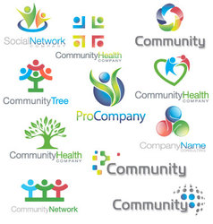 Social Community icons Logos Set vector image