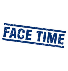 square grunge blue face time stamp vector image