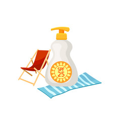 sunscreen bottle with dispenser beach chaise vector image