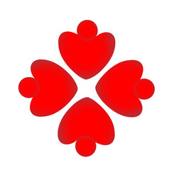teamwork red heart people shape formation vector image