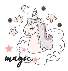 the cute magic unicorn and fairy elements vector image
