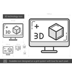 Three d technology line icon vector