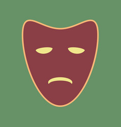 Tragedy theatrical masks cordovan icon vector