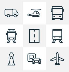transport icons line style set with trolley plane vector image
