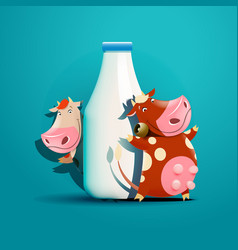 Two cows standing near the bottle of milk vector