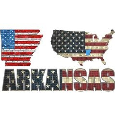 USA state of Arkansas on a brick wall vector image