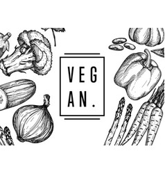 Vegan food hand drawn banner vector