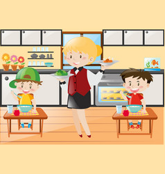 Waitress serving food to boys vector