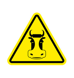 warning cow beef on yellow triangle road sign vector image