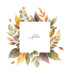 Watercolor autumn frame with roses vector