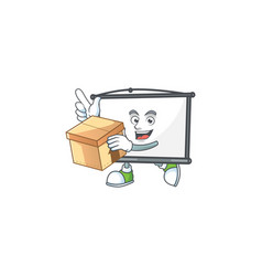 With box empty project screen mascot for display vector