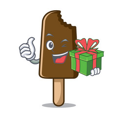 with gift chocolate ice cream mascot cartoon vector image