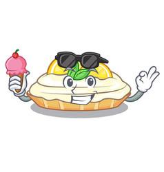 With ice cream cartoon lemon cake with lemon slice vector