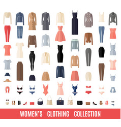 women clothes icons set in flat style vector image