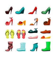 womens shoes set elegant evening shoes platform vector image