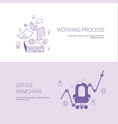 Working process and office armchair concept vector