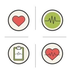 Cardiology color icons set vector image vector image