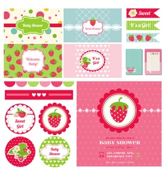 Design Elements - Strawberry Baby Shower Theme vector image vector image