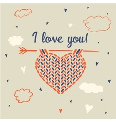 I love you Knitting heart on a background of sky vector image vector image