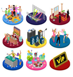 isometric party concept night club dancing vector image vector image