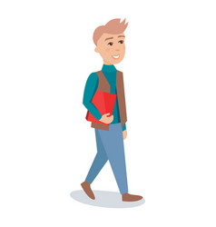 male student walking with red book cartoon vector image