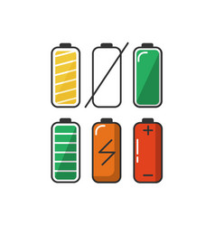 battery icon set in flat style vector image