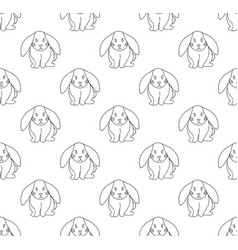 cute white rabbit seamless background vector image vector image