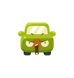 Enraged Green Car Emoji vector image vector image