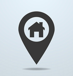 Map pointer with a home symbol vector image