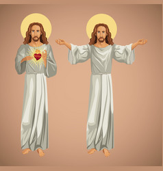 two image jesus christ christianity vector image