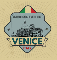 venice vintage emblem on retro style vector image vector image