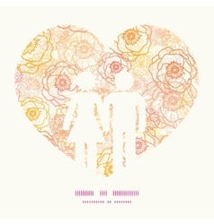 warm flowers couple in love silhouettes vector image