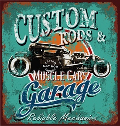 rusty hot rod garage vector image vector image