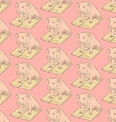 Sketch fancy pig in vintage style vector image vector image