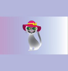 a semi-abstract gray cat with a hat vector image vector image
