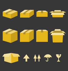 brown paper box with flat style vector image