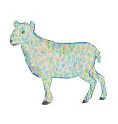 Easter lamb polygons white background vector