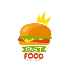 fast food logo design burger sign with crown vector image