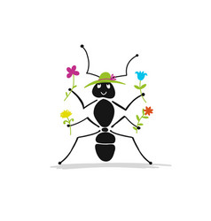 funny ant with flowers sketch for your design vector image