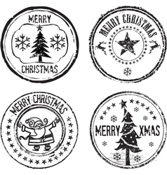 merry xmas stamps vector image vector image
