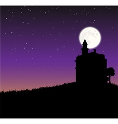 Night sky with castle an moon vector image